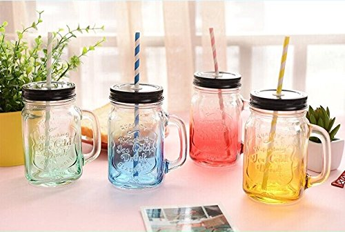 Set of 4 Gradient Color Mason Jar Tumbler Mug with Stainless Steel Lid And Straws --17 OZ (500 ml) (Mint Color Mason Jars compare prices)