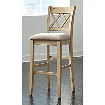 Tall Upholstered Barstool In Antique White Finish   Set Of 2
