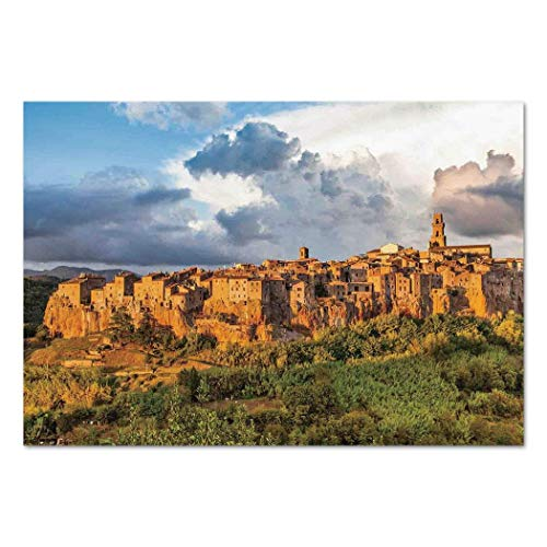 Funky Wall Mural Sticker [ Medieval Decor,Old Medieval Town with Stone Houses on the Valley Historical Europe Tuscany Photo,Cream Blue Green ] Self-adhesive Vinyl Wallpaper / Removable Modern Decorati -