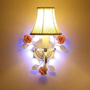 Iron And Ceramic Flowers Wall Lamp With Luminous Base Mirror Lantern