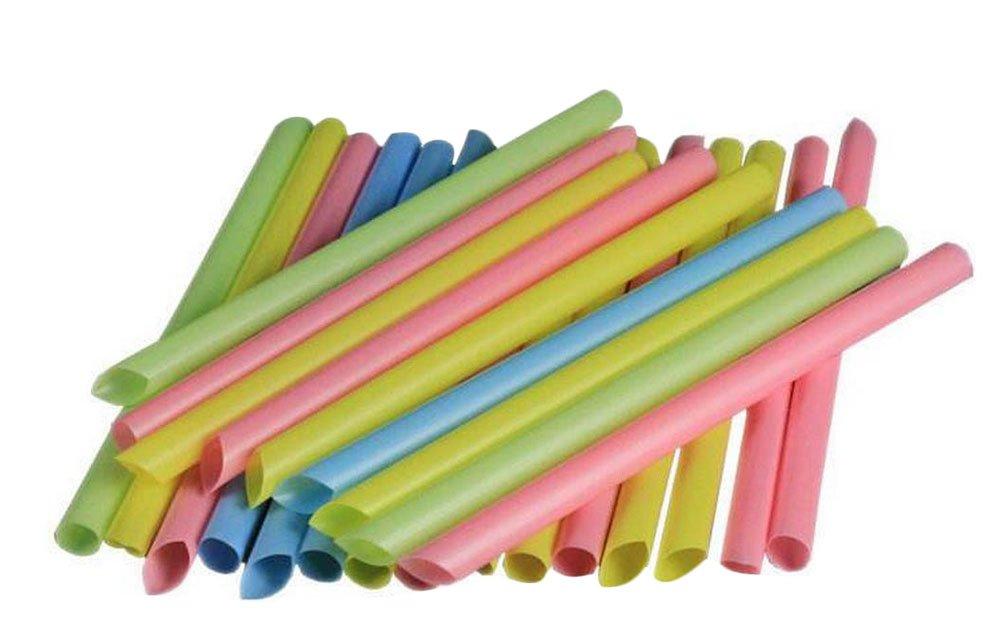 Lumanuby 100x Disposable Straw aus Kunststoff Einweg strohhalme fü r Alkoholfreie Geträ nke/Cocktail/Essen zum Mitnehmen Groß e Durchmesser: 1, 0 cm size 19x1cm (Zufä llige Farbe)