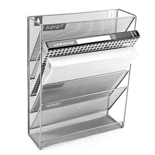 - Wall-Mounted Magazine Rack, 5 Slot Hanging Document Filing System, Grey