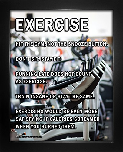 "Framed Exercise Motivational 8"" x 10"" Sport Poster Print by Posters and Prints by Magnetic Impressions"