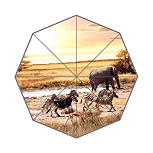 RainbowRain African Savanna Custom Foldable Umbrella 01