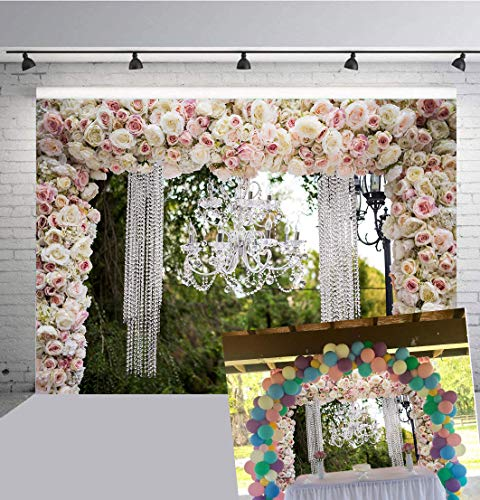 Botong 9x6ft Romantic Flowers Wedding Reception Photography Backdrop Love Engagement Party Background Sweet Anniversary Photos Bridal Shower Shoots Studio Props]()