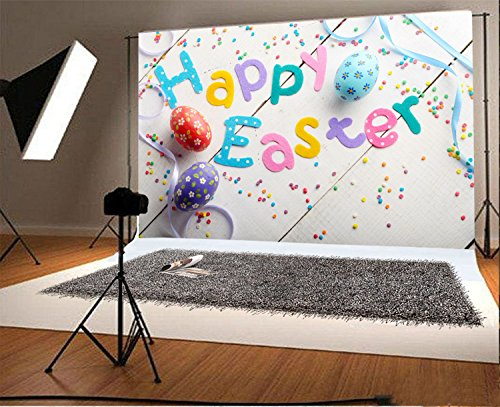 (Laeacco 5x3ft Vinyl Photography Backdrop Happy Easter Phrase Made of Fabric Letters on White Table Color Eggs Scene Photo Background Children Baby Adults Portraits)