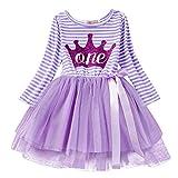 IBTOM CASTLE Newborn Baby Infant Toddler Girl Princess Long Sleeve Shinny Printed Crown Purple Crown(One Years) One Size