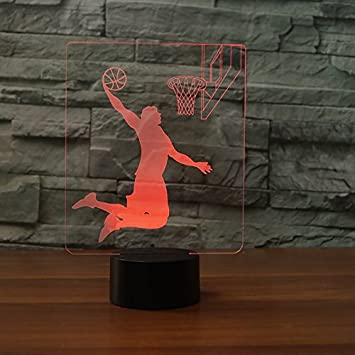 3D Basketball Rebound Dunk Night Light 7 Color Change LED Table Desk Lamp Acrylic Flat ABS