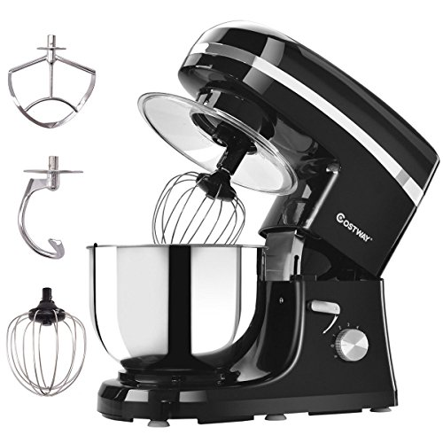 Costway Tilt-head Stand Mixer 5.3Qt 6-Speed 120V/800W Electric Food Mixer with Mixer Blade, Dough Hook, Whisk, Splash Guard, Stainless Steel Bowl(Black)