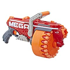 Crank to fire 20 darts in a row from the Megalodon toy blaster! This Nerf Mega blaster has a rotating drum that holds up to 20 official Nerf Mega darts, giving you plenty of firepower for all your Nerf battles. Crank the handle back and forth...