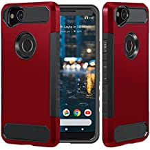 Dailylux Google Pixel 2 XL Case, [Carbon Fiber] Slim Fit Heavy Duty Dual Layer Anti-Scratches Protective Hybrid Armor Defender Case for Google Pixel 2 XL Phone-Red