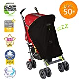 Baby Sun Shade and Blackout Blind for Strollers   UPF50+   Breathable and Universal fit   SnoozeShade Original - Best-Selling Safety Green Trim