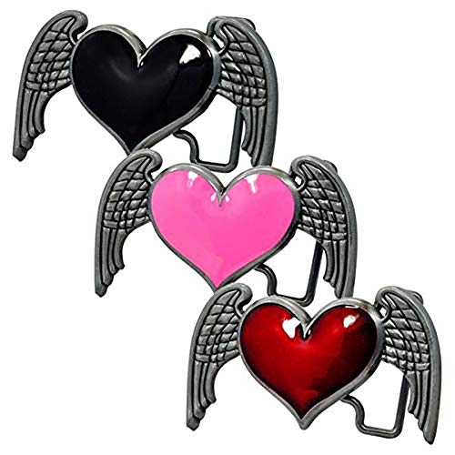 (Womens Heart Wings Angel Belt Buckle Dark Brushed Metal &)
