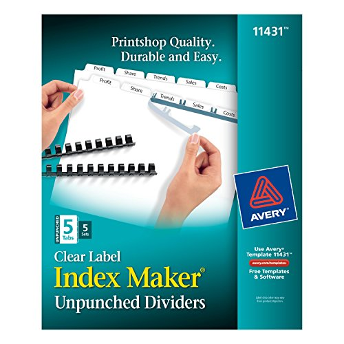 Avery Index Maker Unpunched Clear Label Dividers for Bound Documents, 5-Tab, White, 5 Sets (Avery Reinforced Labels)