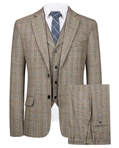 Hanayome Men's Suit 3 Piece Single Breasted Regular Fit Blazer Flat Front Pants(Brown,54) (Jacquard Coat Dress)