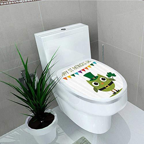 Printsonne Toilet Seat Wall Stickers Paper Owl Leprechaun Costume Greeting Party Shamrock Bathroom Decals DIY Decoration W15 x L17