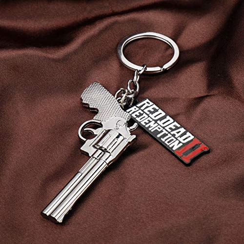Red Dead 2 Redemption Keychain Revolver Gun Toy Model Metal Key Ring llaveros Car Bag Key Chain Chaveiro Jewelry (01)