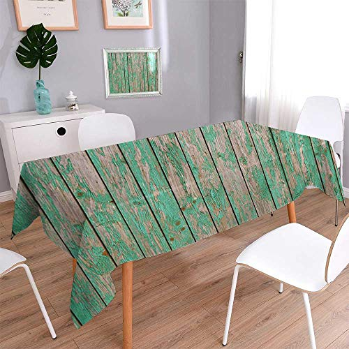 - PINAFORE HOME Harmony Scroll Tablecloth Green barn Wooden Planking Texture Old Solid Wood slats Rustic Shabby Green Paint Summer & Outdoor Picnics/Oblong, 60 x 120 Inch