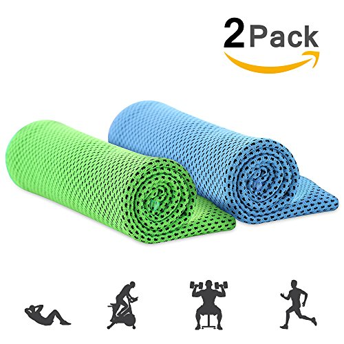 Tilaprecape 2 pcs Summer Evaporative Cooling Towel, Instant Icy Cooling Towel & Chilly Towel - Best for Sports, Workout, Fitness, Gym, Yoga, Pilates, Travel, Camping & More