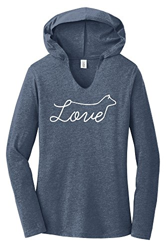 Comical Shirt Ladies Love Cow Navy Frost M