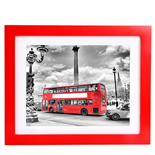 (BOJIN 8x10 Picture Frames Made to Photo 6x8 with Mat,Non Glass Table Top Photo Frame-Red)