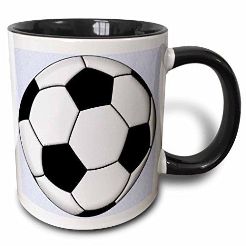 Soccer Coffee Mug (3dRose Soccer Ball Champ Two Tone Black Mug, 11 oz, Black/White)