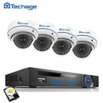 1080P PoE CCTV Security Camera System, Techage 1080P 8CH NVR + 4 Dome Cameras Home Surveillance Kit With 2TB Hard Drive, 48V Indoor Waterproof & Vandalproof IP Cameras