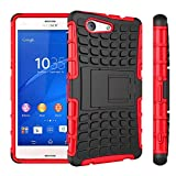 [SCIMIN]Sony Xperia Z3 Mini/Compact Case, Heavy Duty Dual Layer Protection / Shockproof / Drop Resistance Hybrid Rugged Case Cover with Kickstand for Sony Xperia Z3 Mini / Compact (Red)