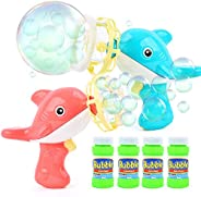 JoyGrow 2PCS Bubble Guns with 4 Bottles Bubble Solution ,2 in 1 Bubble Blower and Handheld Fan for Bubble Blaster Party Favo