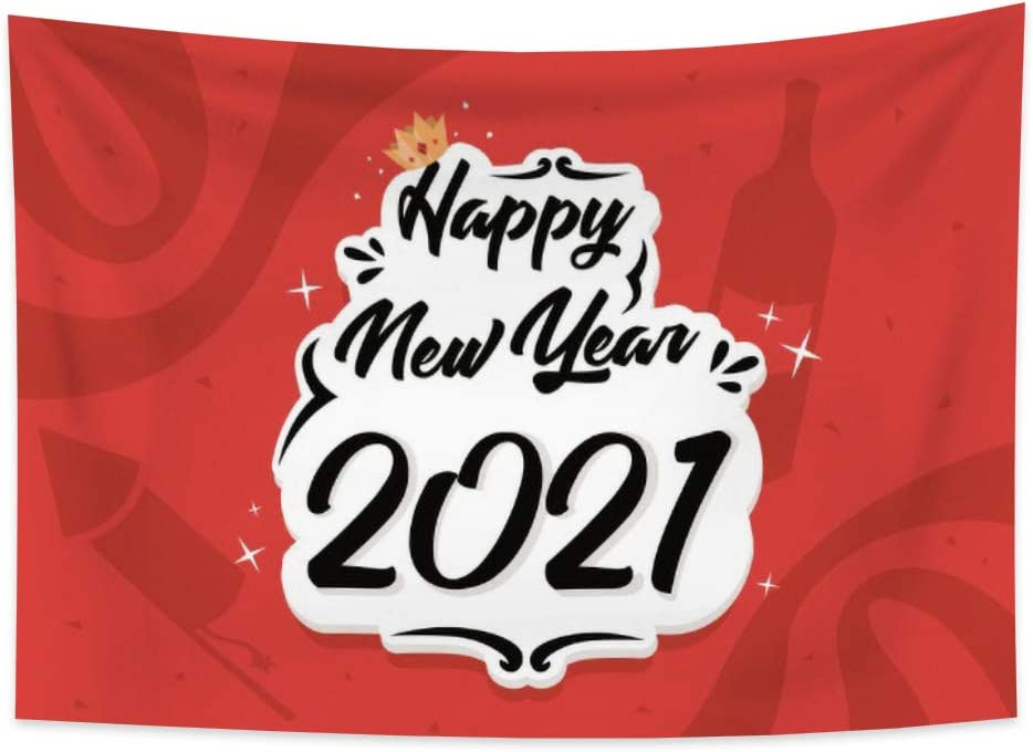 Renaiss 39.4x27.6 Inches Happy New Year 2021 Tapestry Crown Champagne Stars Red Tapestry New Year Festival Party Decor Wall Hanging Art Printing for Living Room Bedroom Dorm