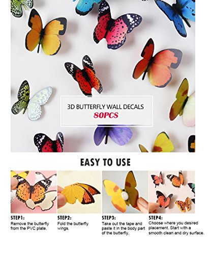 Eoorau 80PCS Butterfly Wall Decals - 3D Butterflies Decor for Wall Removable Mural Stickers Home Decoration Kids Room… 3