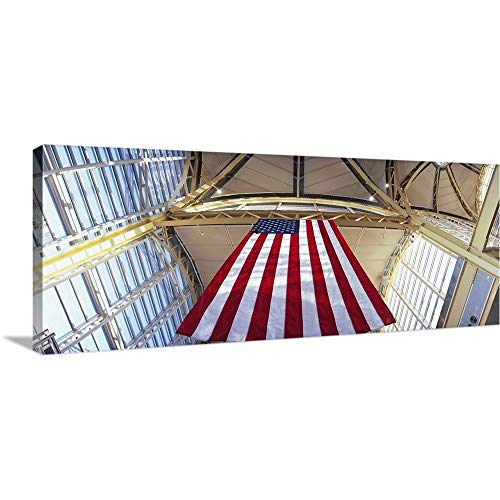 GREATBIGCANVAS Gallery-Wrapped Canvas Entitled Low Angle View of The American Flag, Ronald Reagan Washington National Airport, Washington DC by -