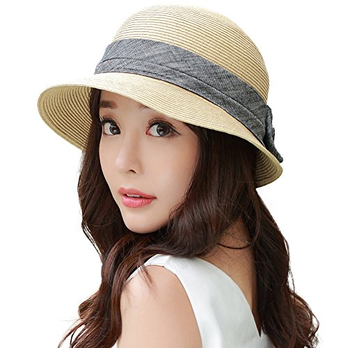 Siggi Womens Floppy Summer Sun Beach Panama Straw Hats UPF50+ Foldable Bucket Cloche Hat 56-59CM Beige