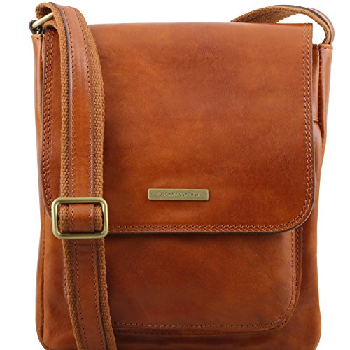 Tuscany Leather Jimmy Leather crossbody bag for men with front pocket Honey by Tuscany Leather