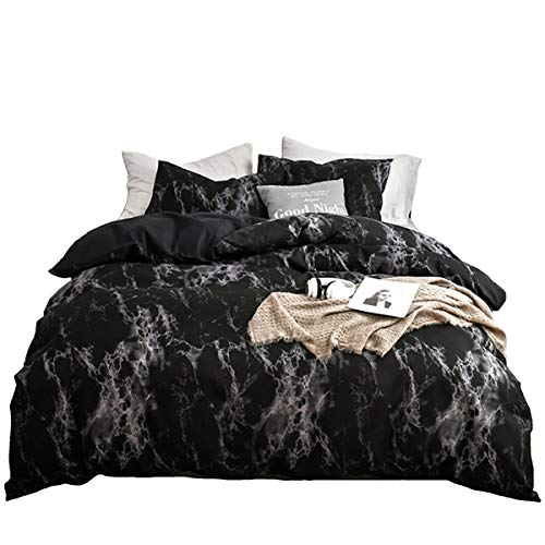 ADASMILE A & S Black Marble Bedding Duvet Cover Set Soft Microfiber Quilt Cover with 2 Matching Pillow Shams with Zipper Closure 4 Corner Ties (Black Duvet Cover Patterned)