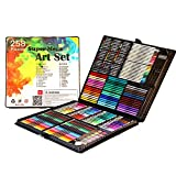 Skiout 258 Pcs Art Set Children Colored Pencil Oil Pastel Watercolor Pan Paints Crayons Drawing Artist Kit