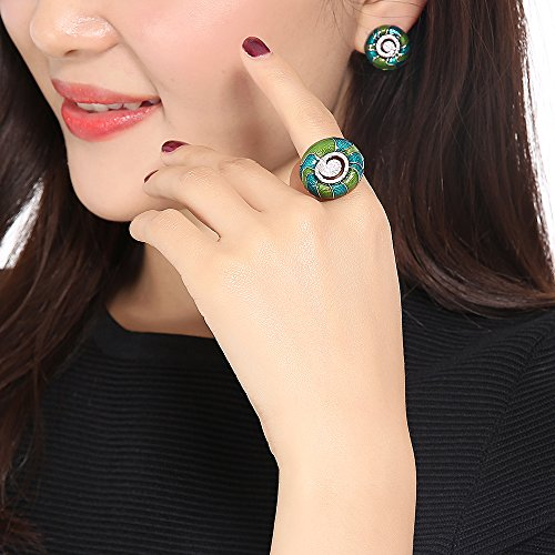 Mytys 18K White Gold Plated CZ Crystal Rings Flower Pattern Colorful Enamel Rings Glazed Costume Jewelry(Green) by Mytys (Image #2)