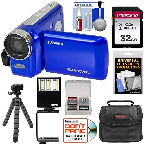 Bell & Howell DV200HD HD Video Camera Camcorder with Built-in Video Light (Blue) with 32GB Card + Case + Flex Tripod + LED Video Light + Kit
