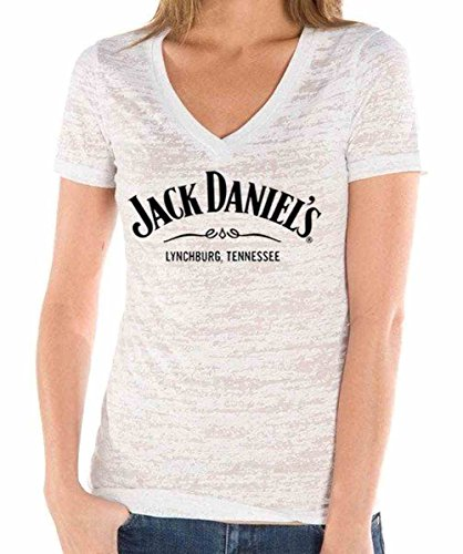 Jack Daniels Women's Daniel's Burnout V-Neck T-Shirt White Large (Jack Daniels T Shirt White)