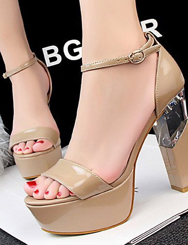 LFNLYX Zapatos de mujer-Tacón Robusto-Tacones / Punta Abierta-Sandalias-Casual-Semicuero-Negro / Rojo / Blanco / Plata / Gris / Almendra Red