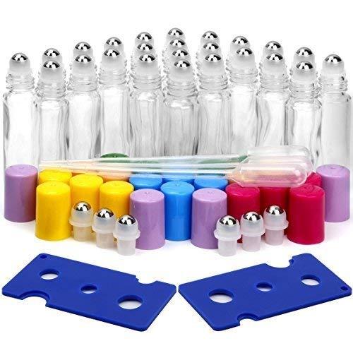 Essential Oil Roller Bottles, ESARORA 24 Pack 10ml Clear Glass Roller Bottles with Stainless Steel Roller Balls and Multi-color Lids (3 Dropper, 6 Extra Roller Balls, 2 Bottle Opener Included)