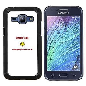 """Be-Star Único Patrón Plástico Duro Fundas Cover Cubre Hard Case Cover Para Samsung Galaxy J1 / J100 ( Disfrute Smiley Vida - Gracioso"""" )"""