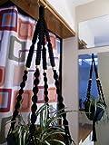 Cheap Macrame Plant Hanger BLACK 4 TAN BEADS