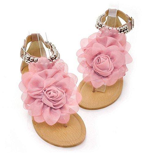 Sandali Donne D'estate Minetom Scarpe Infradito Casual Con Piatte Boemi Fiori Pink qOw4O0