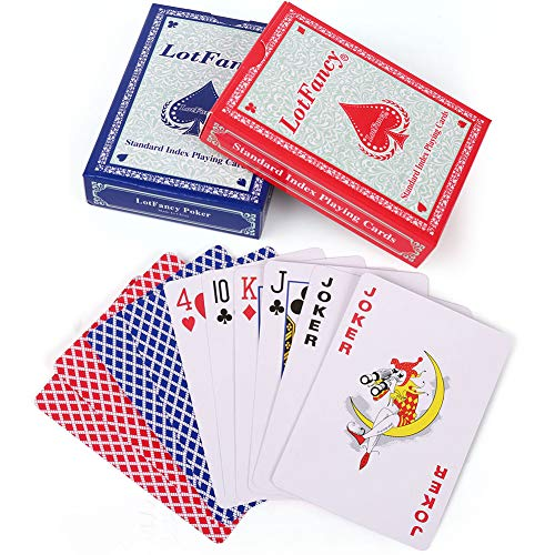 - LotFancy Playing Cards, 2 Decks of Cards (Blue and Red), Poker Size Standard Index, for Blackjack, Euchre, Pinochle Card Games