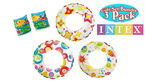 3 Intex 20' Swim Rings, Includes all 3 designs! Cute Starfish,Circles & Fish Bonus 1 pair Floatie Arm Bands - Kids Pool...