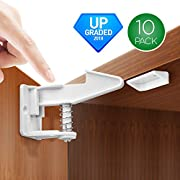 Cabinet Locks [UPGRADED] Child Safety Cabinet Latches Locks, 10 Packs, Easy to Install, No Tools or Drilling Needed, Invisible Design, with Buckles and Screws - White
