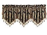 Cheap Five Queens Court Reilly Ascot Crystal Tassel Fringe Window Valance, Black/Gold
