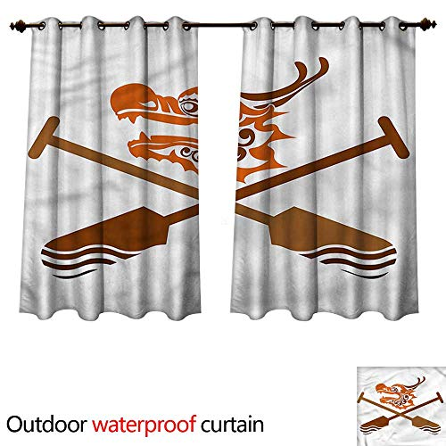 (cobeDecor Oar Outdoor Balcony Privacy Curtain Dragon Boat Crossed Paddles W108 x L72(274cm x 183cm))