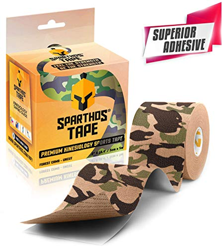 Sparthos Kinesiology Tape - Incredible Support for Athletic Kt Sports and Recovery - Free Kinesio Taping Guide! - Pro Rocktape Waterproof Rock Kinetic Tapes Wrap - Uncut (Forest Camo)